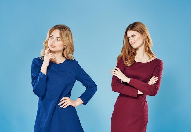 Two women conflict quarrel communication lifestyle blue