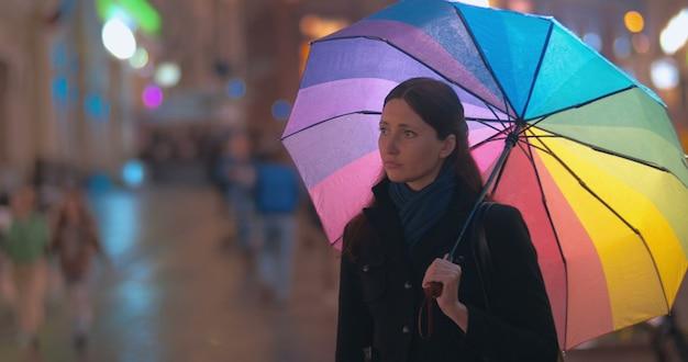 雨の夜に会う2人の女性の友人