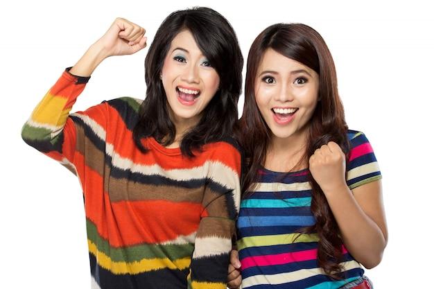 Two women in a happy friendship
