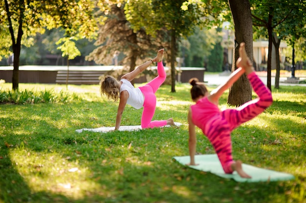 Two women practicing yoga in the park in the half bow pose.