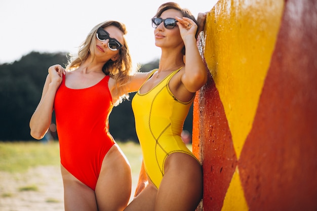 Two women in swimming suit on the beach