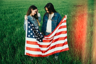 Two women with American flag