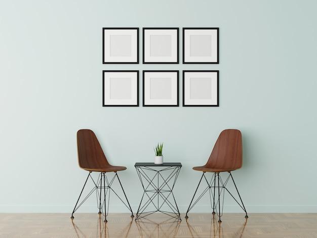 2つの木製の椅子と白いクリーニングリビングルームの額縁のグループ。 3dレンダリング。