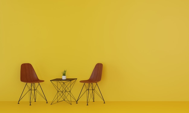 2つの木製の椅子と黄色のリビングルームの木製テーブル。 3dレンダリング。