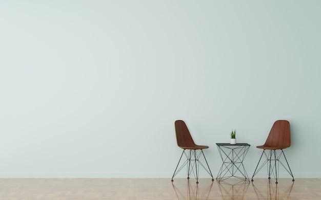 白のリビングルームを掃除で2つの木製の椅子。 3dレンダリング。