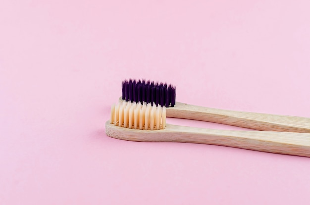 Two wooden eco brushes with natural bristles