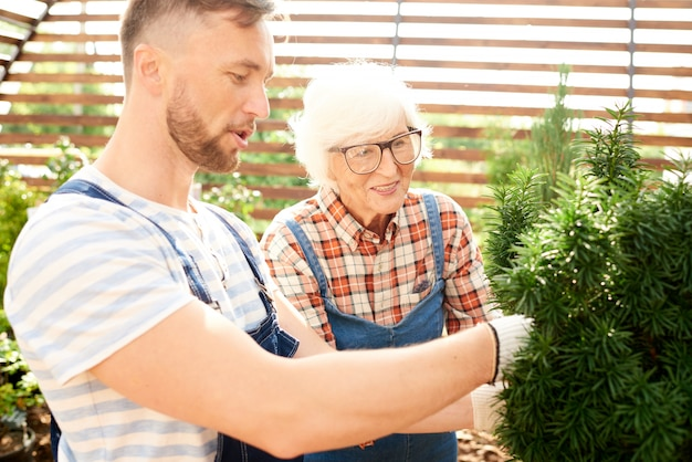Two workers caring for plants