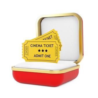 흰색 바탕에 빨간색 선물 상자에 두 개의 노란색 영화 티켓. 3d 렌더링