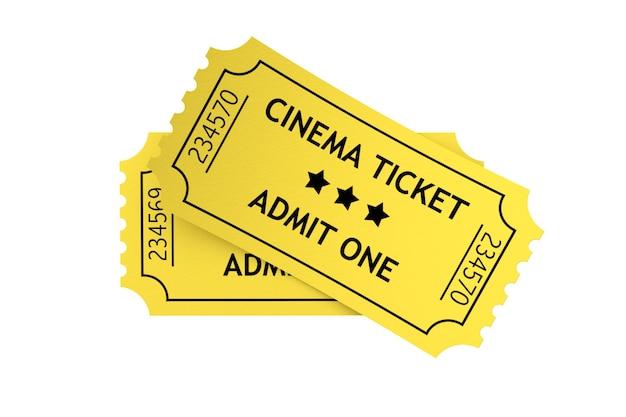 흰색 배경에 두 개의 노란색 영화 티켓