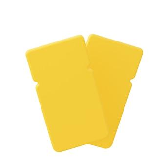 두 개의 노란색 쿠폰 흰색 배경에 고립입니다. 3d 렌더링.