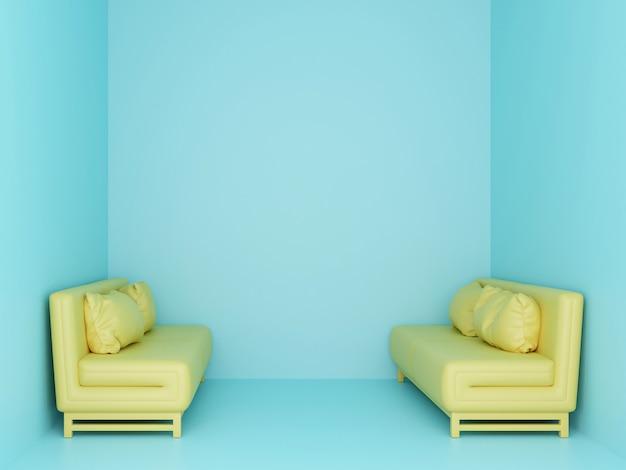 小さな水色の部屋に2つの黄色のソファ。 3dレンダリング。