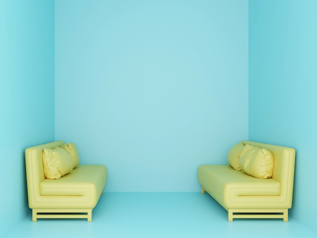 Two yellow sofa in small light blue room. 3d render.