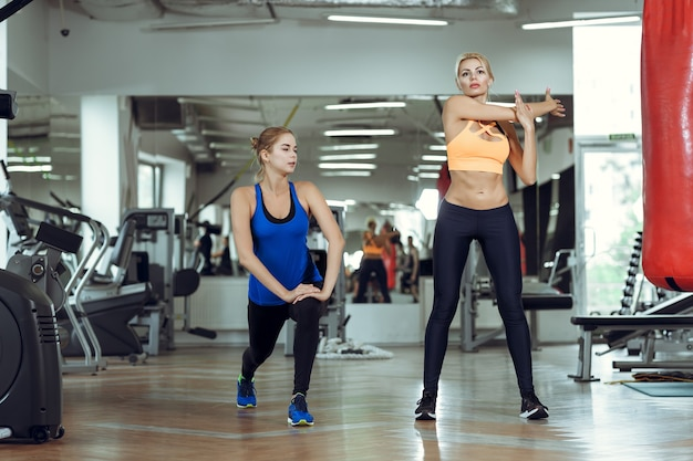 Две молодые спортивные женщины вместе тренируются в тренажерном зале