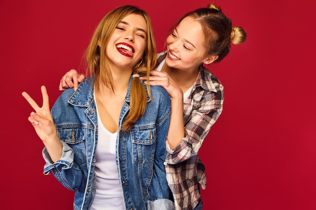Two young beautiful blond smiling hipster women posing in trendy summer checkered shirt clothes