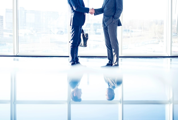Two young businessmen are shaking hands.
