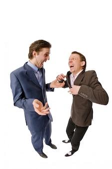 뭔가 논의 두 젊은 사업가