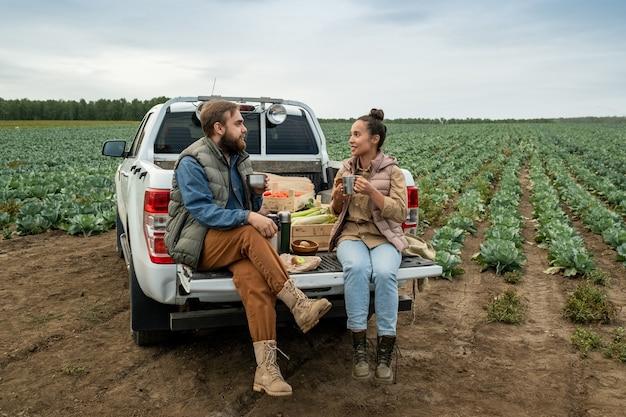 양배추 밭에서 일한 후 휴식 시간에 차를 마시는 두 젊은 농부