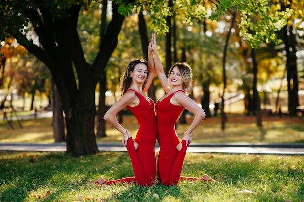 Две молодые подруги занимаются спортом и йогой в парке
