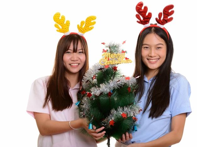 메리 크리스마스 트리를 들고 웃 고 두 젊은 행복 아시아 십 대 소녀
