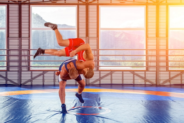 Two young men in blue and red wrestling tights are wrestlng in the gym on the of mountains.