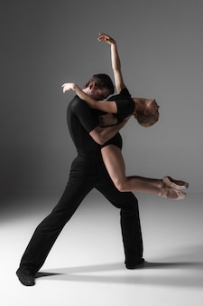 Two young modern ballet dancers