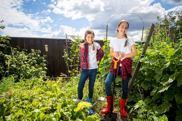 Two young sisters working at backyard garden at sunny day