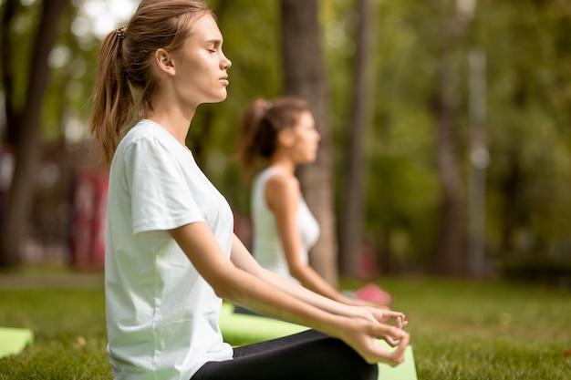 Две молодые стройные девушки сидят в позах лотоса с закрытыми глазами, занимаясь йогой на ковриках для йоги на зеленой траве в парке в теплый день.