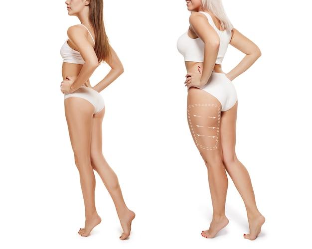 Две молодые толстые и худенькие женщины имеют разные фигуры концепция сравнения стройные и толстые девушки
