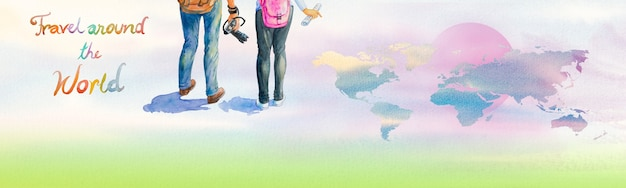 Two young tourists with backpacks sightseeing travel around the world. watercolor hand drawn painting illustration colorful with world map, sky earth background. travel lifestyle vacations concept.