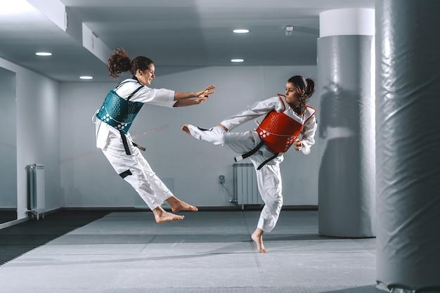 태권도 연습 두 젊은 여성.
