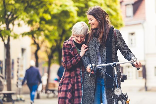 Two young women walking in berlin