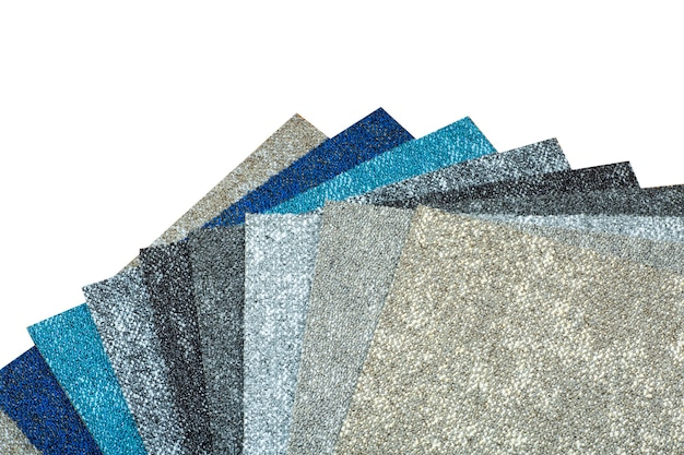 다양한 색상의 카펫에있는 카펫의 종류 및 샘플