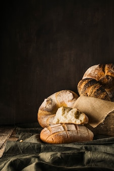 Types of bread with copy space