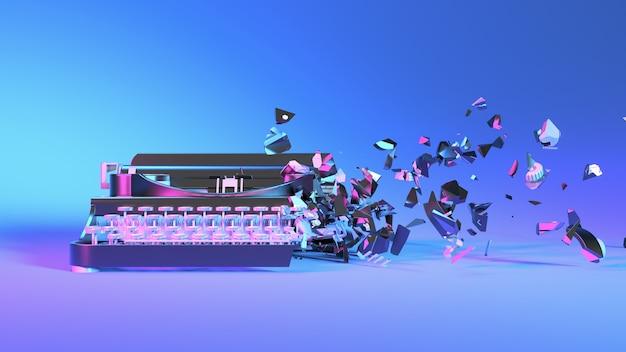 Пишущая машинка в неоновом свете разваливается на мелкие детали