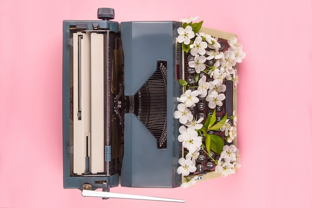 Typewriter in the modern style of life of a writer, journalist or copywriter