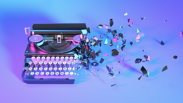 Typewriter in neon light collapses into small parts