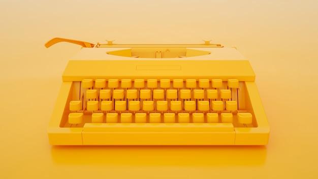 노란색 바탕에 타자기