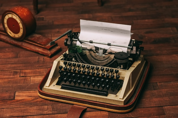 Typewriter retro style nostalgia journalist technology technology wood background