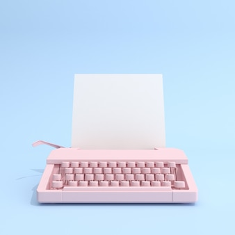 Typewriter and white paper on blue background