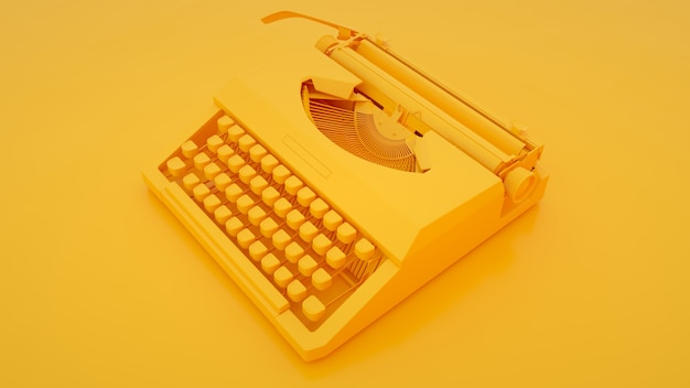 Typewriter on yellow background