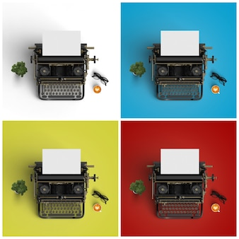 Typewriters on four different backgrounds