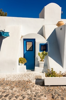 Typical architecture of houses on the island of santorini in greece in the cyclades