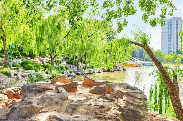 Typical chinese garden,  park with bizarre rocks. beijing.