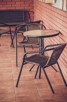 Typical  coffee terrace with tables and chairs