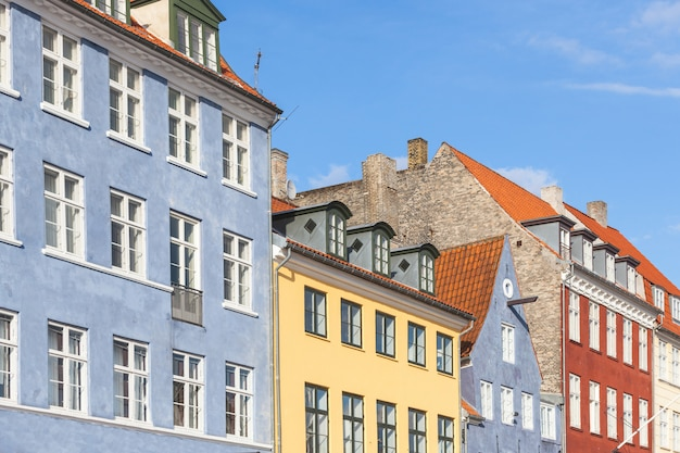 Typical colorful houses in copenhagen old town