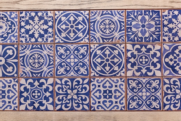 Typical decoration of the facade of the house traditional ceramic tiles
