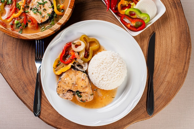 Typical dish of brazilian cuisine called moqueca de peixe