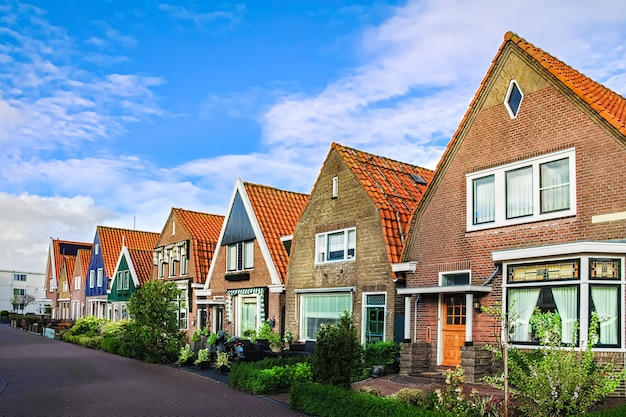 Typical dutch family houses, modern residential architecture in netherlands, holland