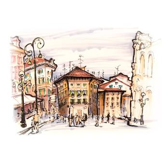 ブラ広場、ヴェローナ、イタリアの典型的なイタリアの家
