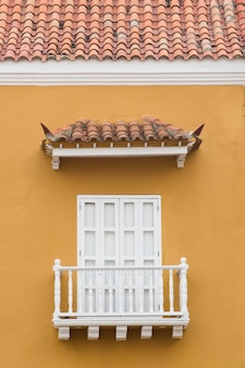 Typical latin american colonial window in cartagena, colombia
